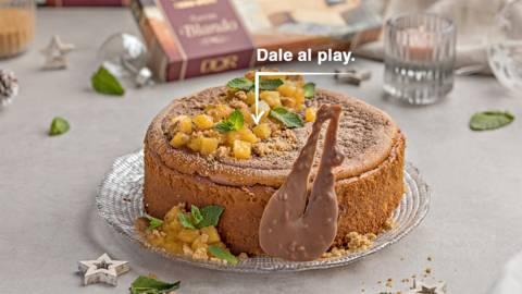 Cheesecake de turrón con piña y chocolate