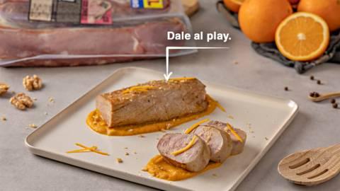 Solomillo de cerdo con salsa de zanahoria y naranja