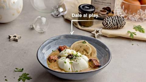 Huevo en flor con foie y trufa