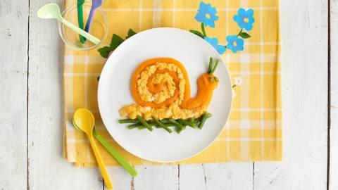 Huevo revuelto con puré de calabaza y zanahoria