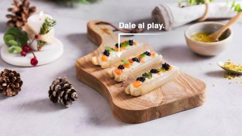 Delicias de espárragos, mousse de queso y caviar