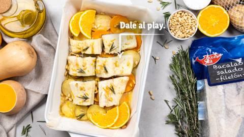 Bacalao al horno con calabaza, papas y naranja