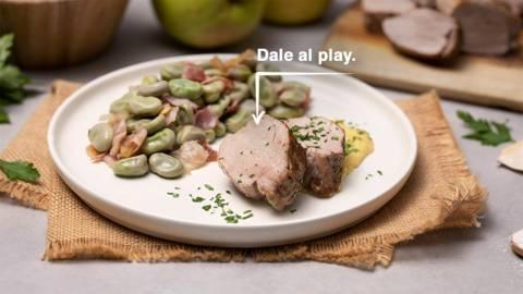 Solomillo de cerdo con habas y salsa de manzana