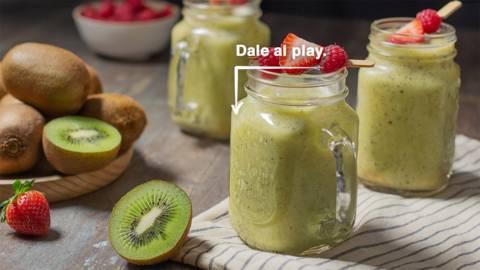 Smoothie de kiwi, plátano y naranja