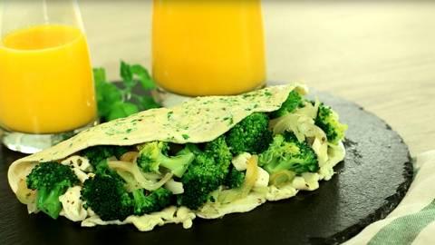 Tortilla rellena de brócoli