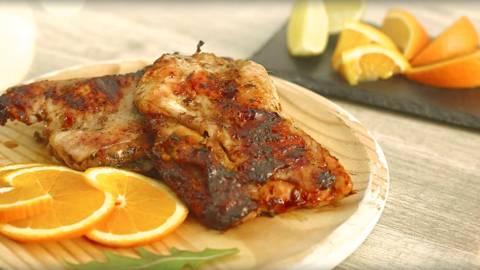 Pollo a la barbacoa con naranja