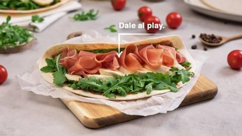 Piadina italiana de jamón