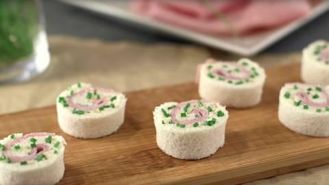 Mini rollitos de jamón cocido