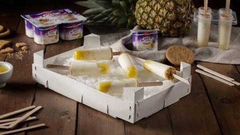 Helados de yogur desnatado con piña