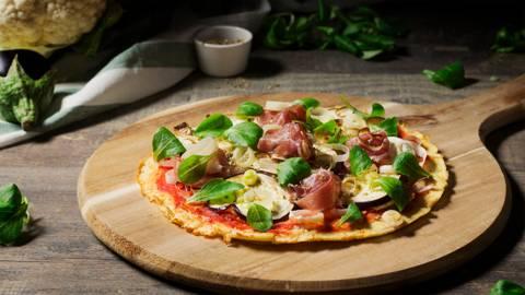 Pizza de coliflor sin lactosa