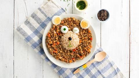 Lentejas con arroz integral