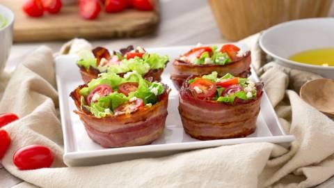 Nidos de bacon con ensalada