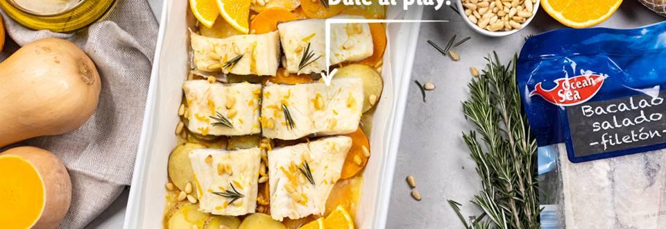 Cómo hacer bacalao al horno con calabaza, papas y naranja