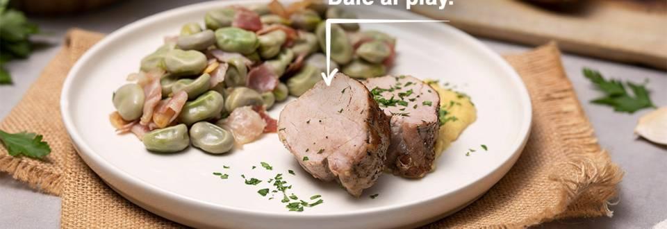 Cómo hacer un solomillo de cerdo con habas y salsa de manzana