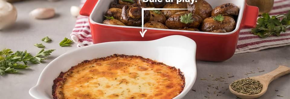 Cómo hacer provolone al horno y champiñones