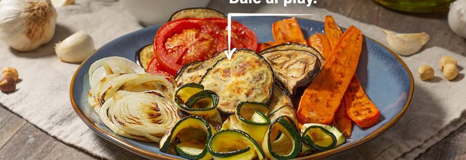 Cómo hacer una parrilla de verduras con salsa de avellanas