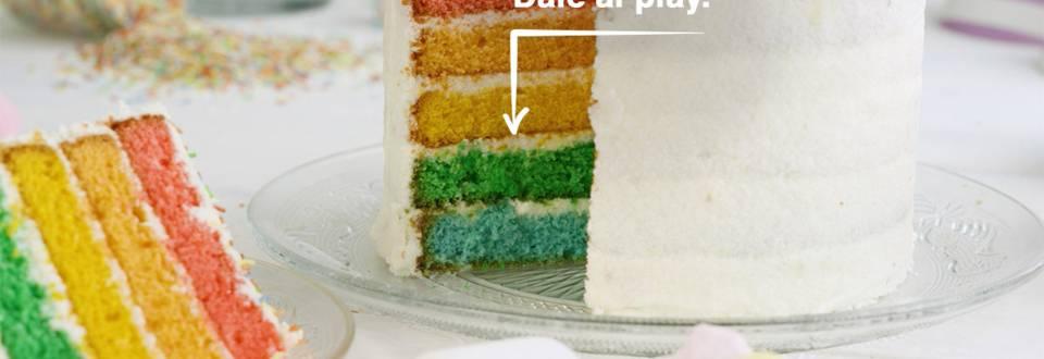 Cómo hacer tarta arcoíris