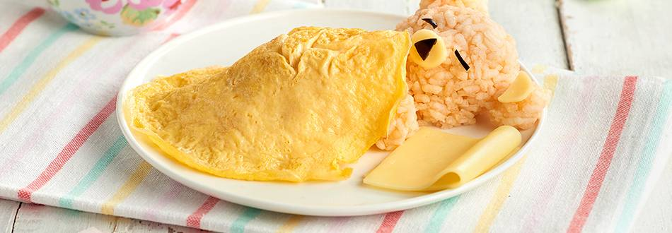 Receta infatil de arroz con tortilla en forma de oso dormilón