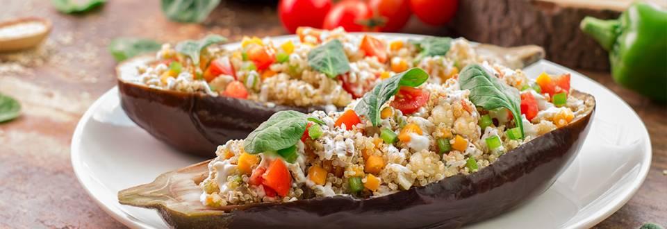 Cómo hacer berenjena rellena de quinoa