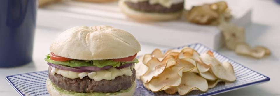 Cómo hacer hamburguesa con chips de manzana