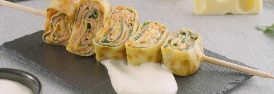 Cómo hacer crêpes de queso y salmón