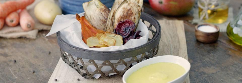 Cómo hacer chips de verduras con dip de mango