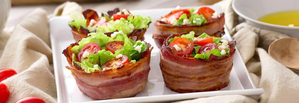 Cómo hacer nidos de bacon con ensalada