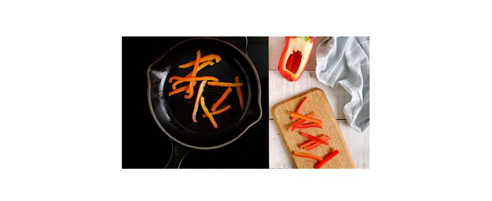 Paso 2 - Cocinar las tiras de pimiento rojo a la plancha