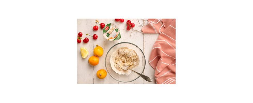 bol con huevo, avena y yogur